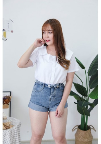 Korea Square Neck Button Front Short Sleeve Blouse (White)