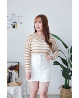 Korea Stripe Hollow V Neck Long Sleeve Knit Top (Brown)