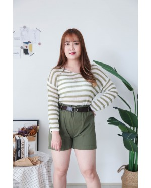 Korea Stripe Hollow V Neck Long Sleeve Knit Top (Green)
