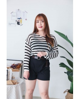 Korea Stripe Hollow V Neck Long Sleeve Knit Top (Black)