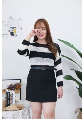 Korea Stripe Hollow Long Sleeve Knit Top (Black)