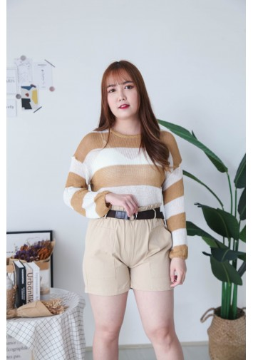 Korea Stripe Hollow Long Sleeve Knit Top (Brown)