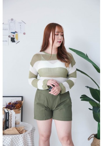 Korea Stripe Hollow Long Sleeve Knit Top (Green)