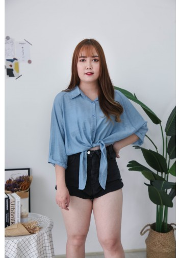 Korea V Collar Ribbon Tie Waist Short Sleeve Blouse (Blue)
