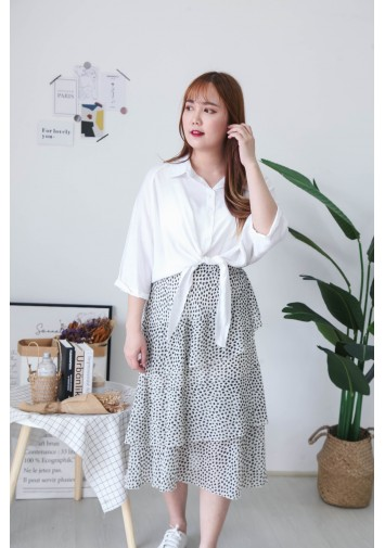 Korea V Collar Ribbon Tie Waist Short Sleeve Blouse (White)