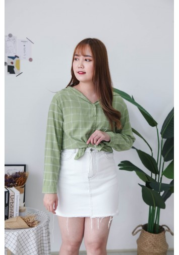 Korea Checks V Collar Pocket Long Sleeve Blouse (Green)