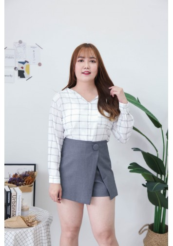 Korea Checks V Collar Pocket Long Sleeve Blouse (White)