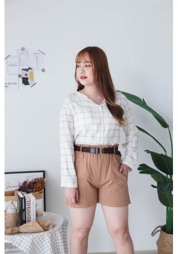 Korea Checks V Collar Pocket Long Sleeve Blouse (Beige)