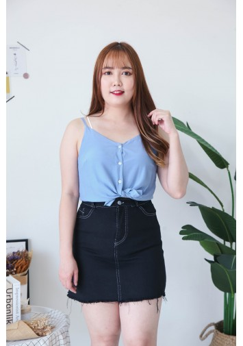 Korea V Neck Shell Button Front Adjustable Strap Sleeveless Top (Blue)