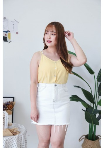 Korea V Neck Shell Button Front Adjustable Strap Sleeveless Top (Light Yellow)