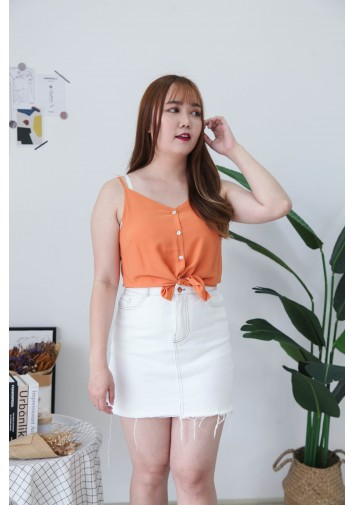 Korea V Neck Shell Button Front Adjustable Strap Sleeveless Top (Light Orange)