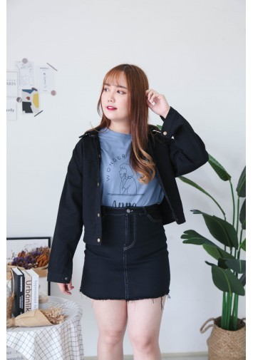 Korea Button Front Denim Jacket  (Black)