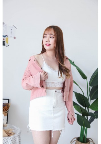 Korea Button Front Denim Jacket  (Pink)