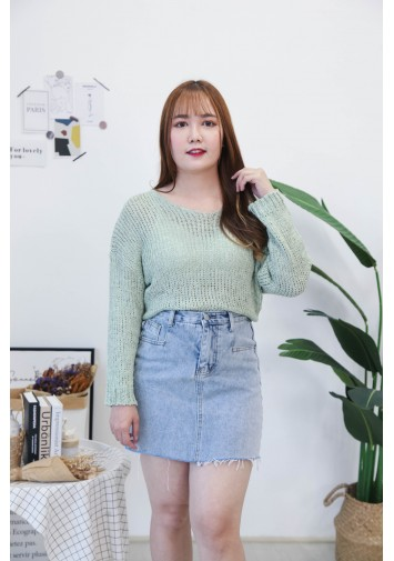 Korea Bling Crochet Hollow V Neck Long Sleeve Knit Top (Green)