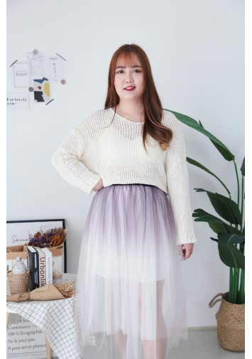Korea Bling Crochet Hollow V Neck Long Sleeve Knit Top (Beige)