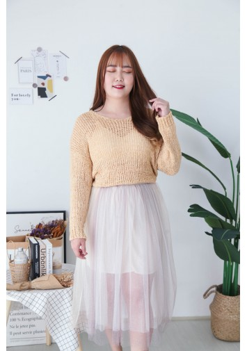 Korea Bling Crochet Hollow V Neck Long Sleeve Knit Top (Light Brown)