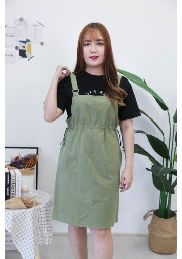 Korea Metal Ring Double Pocket Self Tie Waist Strap Denim Skirt (Army Green)