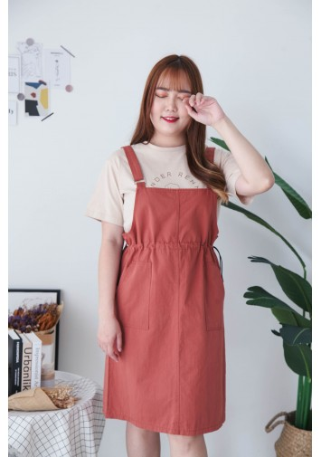 Korea Metal Ring Double Pocket Self Tie Waist Strap Denim Skirt (Brown)