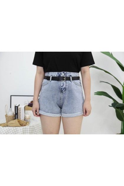 Korea Basic Pocket Front High Waist Denim Short Pant With Belt (Blue)