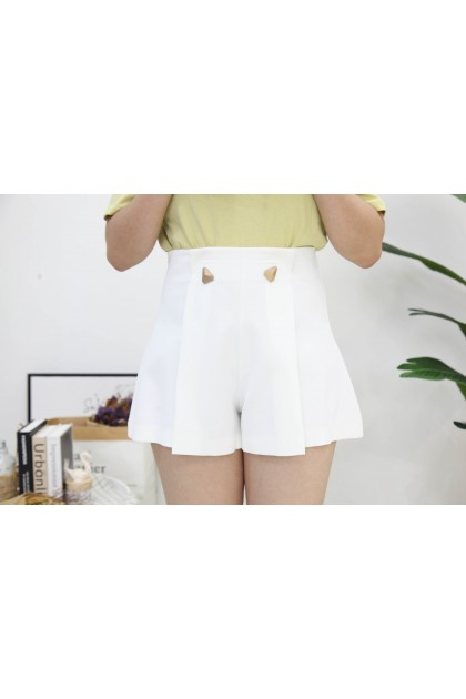 Korea Triangle Button Wide Leg High Waist Short Pant (White)