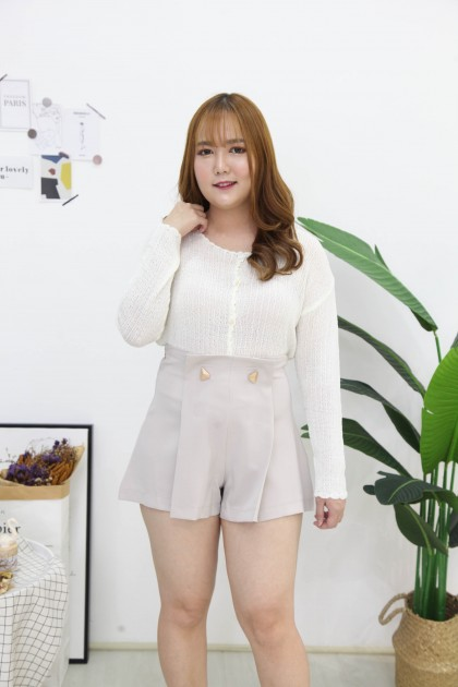 Korea V Neck Button Front Knit Top Or Outer (White)