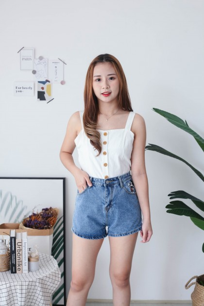 Korea Mickey Basic High Waist Denim Pant (Blue)