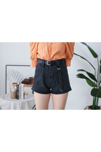 Korea Big Pocket Front & Denim Strap Style High Waist Denim Short Pant With Belt (Black)
