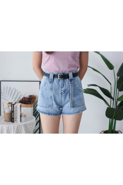 Korea Big Pocket Front & Denim Strap Style High Waist Denim Short Pant With Belt (Blue)