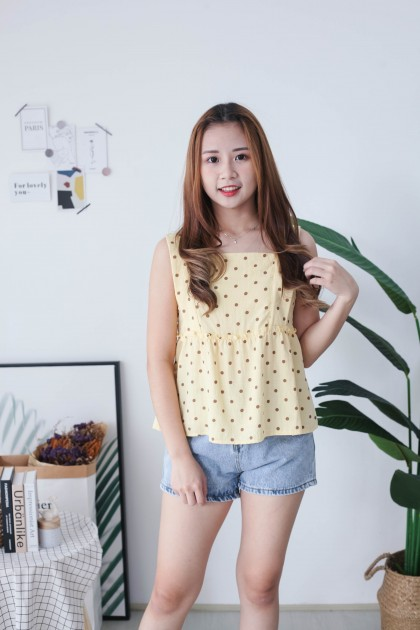 Korea Wawa Style Polka Dot Sleeveless Top (Mustard)