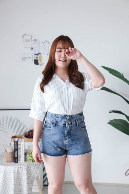 Korea Double Button Front Ripped High Waist Denim Short Pant (Blue)