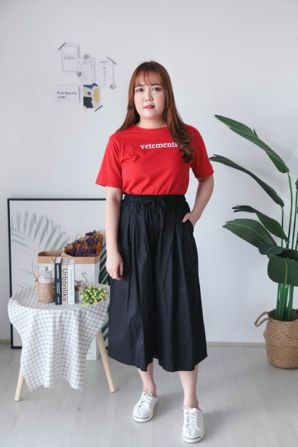 Korea Basic Rubber Waist Culottes (Black)