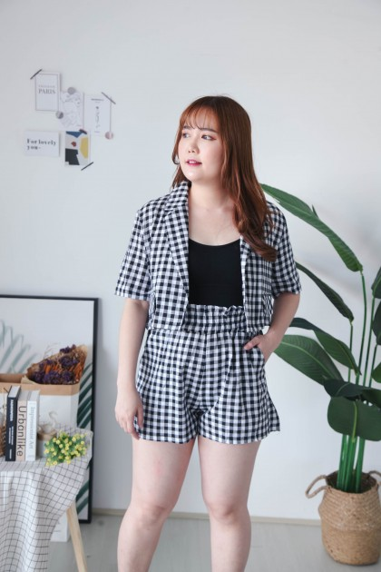 Korea Checks Short Blazer + Checks Rubber Waist Short Pant (Black)