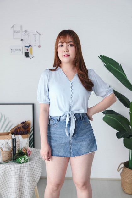 Korea V Neck Button Front Self Tie Ribbon Short Sleeve Top (Blue) - BACKORDER ETA 31 JULY