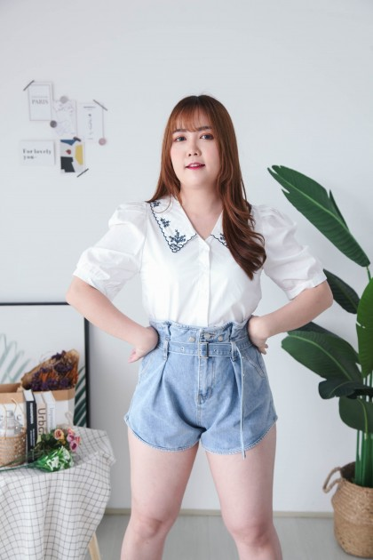 Korea Embroidery V Collar Button Front Short Sleeve Blouse (White Blue)