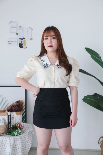 Korea Embroidery V Collar Button Front Short Sleeve Blouse (Beige)