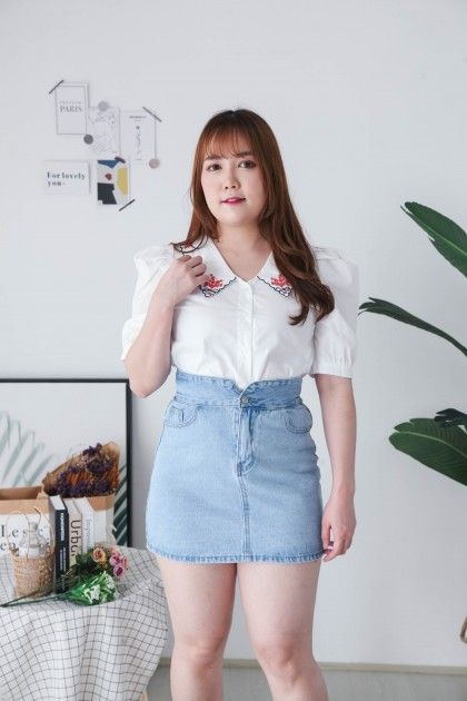 Korea Embroidery V Collar Button Front Short Sleeve Blouse (White Red)