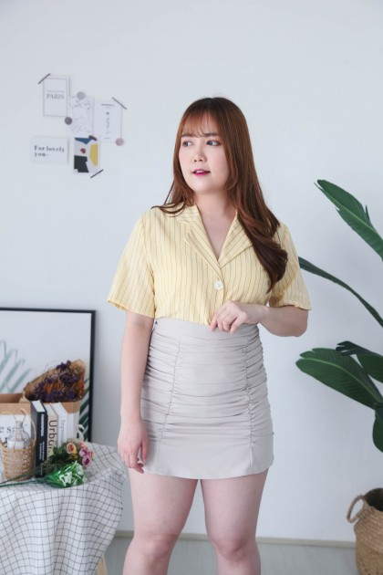 Korea Stripe V Collar Button Front Short Sleeve Blouse (Yellow)