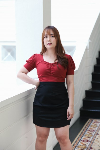 Korea Splited & Wrinkle High Waist Skirt (Black) - BACKORDER ETA 24 MAR
