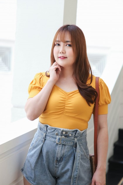Korea Elastic Knit Short Sleeve Top (Mustard)