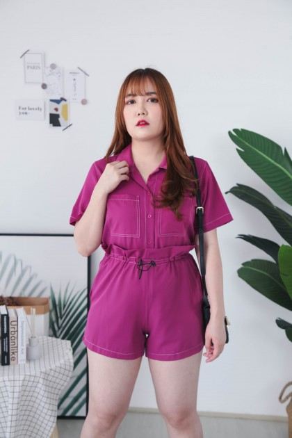 Korea Lining Double Pocket Oversize Top + Drawsting High Waist Short Pant [Set] (Purple)