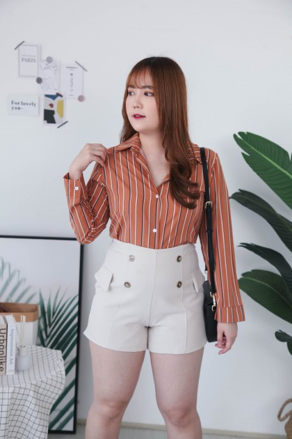 Korea Stripe V Collar Long Sleeve Blouse (Brown)