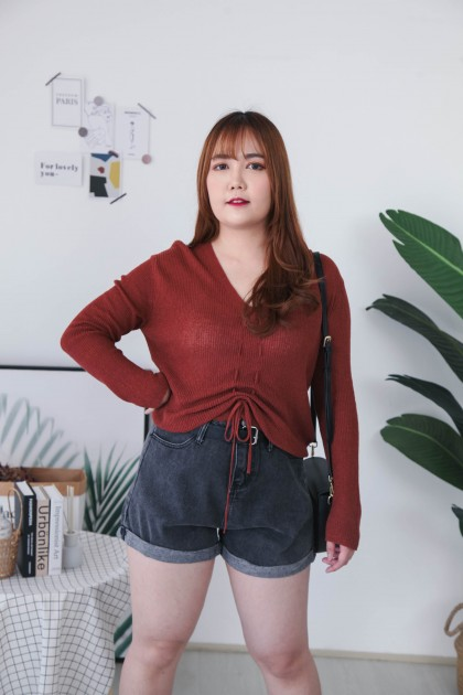 Korea Knit Drawstring Long Sleeve Top (Brown) - BACKORDER ETA 14 AUG