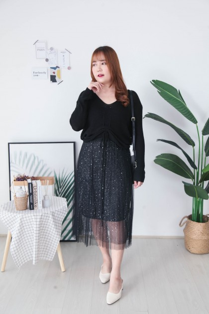 Korea Knit Drawstring Long Sleeve Top (Black) - BACKORDER ETA 12 AUG
