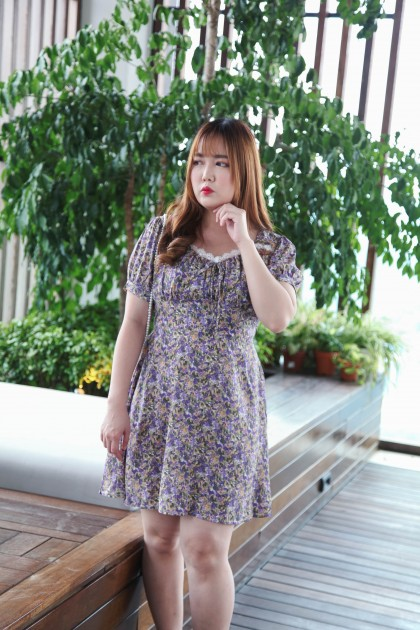 Korea Flora French Style Lace Trim Self Tie Waist Short Sleeve Dress (Purple)