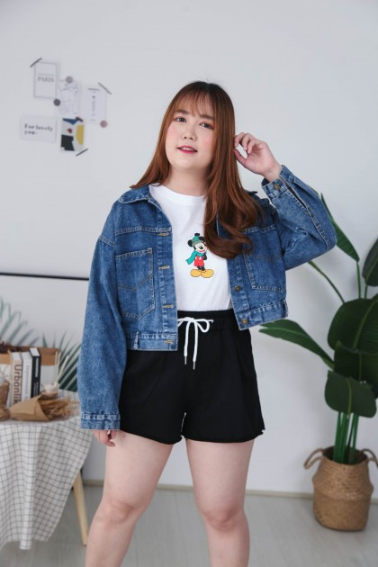 Korea Sporty Rubber High Waist Wide Leng Short Pant (Black)
