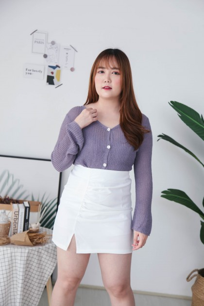 Korea V Neck Button Front Long Sleeve Knit Top (Purple) - BACKORDER ETA 17 MAR
