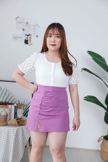 Korea Lace Button Front Short Sleeve Top (White)