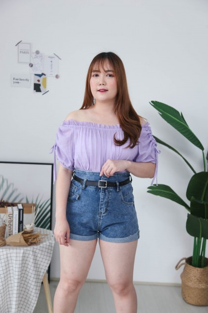 Korea Basic Ribbon Sleeve Off Shoulder Top (Purple)