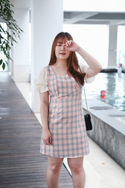 Korea Checks & Bling Square Neck Button Front Short Sleeve Dress (Pink)