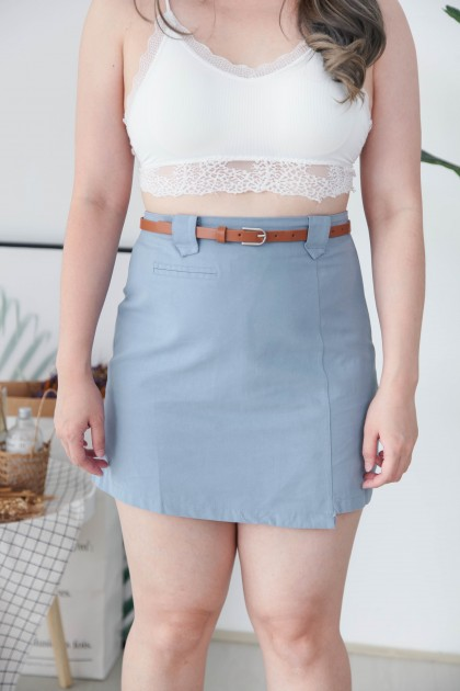 Korea Basic Fake Pocket High Waist A Line Skirt With Belt (Blue)